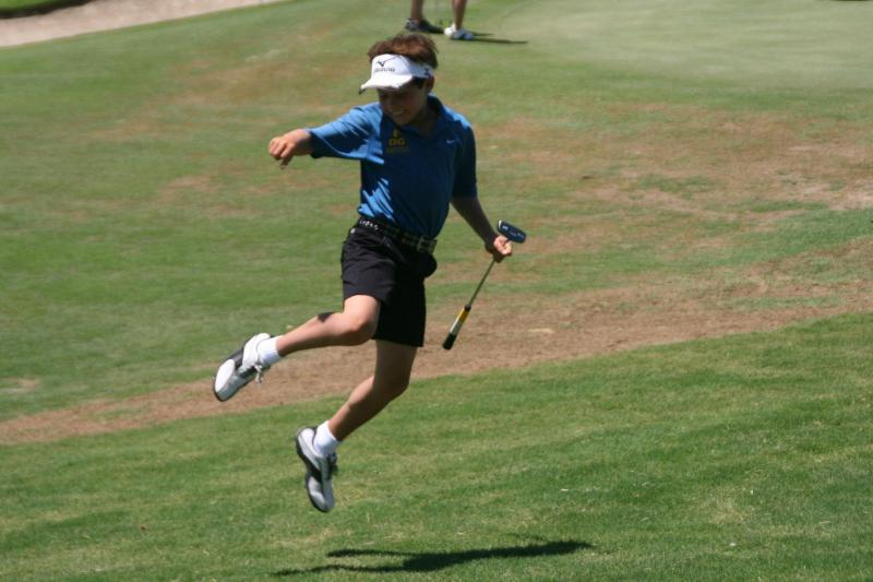 Celebrating Birdie at the 2011 San Diego Junior Masters